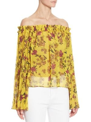 Pleated Off-The-Shoulder Floral-Print Blouse by Scripted