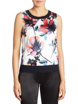 Floral Wool & Cashmere Top by St. John