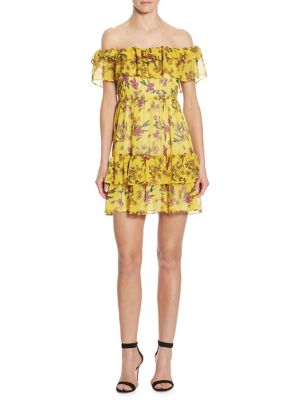 Buy Scripted Ruffled Off-The-Shoulder Floral-Print Dress online with Australia wide shipping