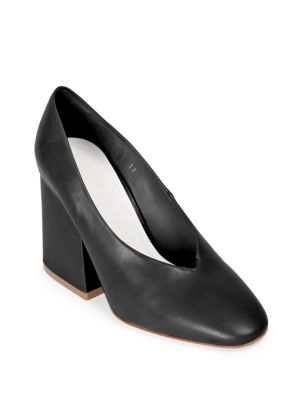 Leather Chunky Heel Pumps by Maison Margiela