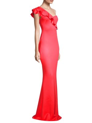 BLACK HALO Tailored-Fit Carmel One-Shoulder Gown in Canyon Coral