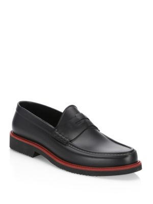 Saks Fifth Avenue  COLLECTION Moc Rubber Penny Loafers