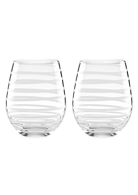 """Image of Decorated with a delicate spiral stripe, these lovely glasses are easy to coordinate with both casual and formal dinnerware. Set of 2.Height, 4"""".Glass. Dishwasher safe. Imported."""