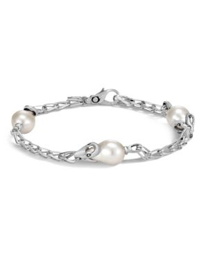 Bamboo Medium 9Mm White Fresh Water Pearl & Silver Station Bracelet in Silver/ Pearl