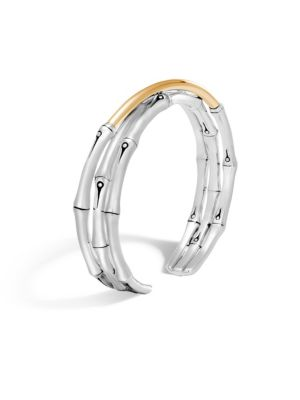 Brushed 18K Yellow Gold And Sterling Silver Bamboo Small Flex Cuff in Silver/ Gold