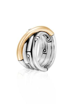 Brushed 18K Yellow Gold And Sterling Silver Bamboo Ring in Silver/ Gold