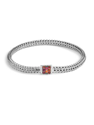 Image of From the Classic Chain Collection. Textured sterling silver bracelet accented with sapphire detail. Lava Red Sapphire. Sterling Silver. Bracelet, 5mm width. Pusher clasp. Imported.