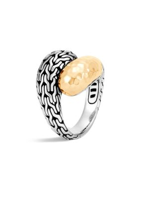 Classic Chain Hammered 18K Gold & Silver Medium Bypass Ring, Silver-Gold