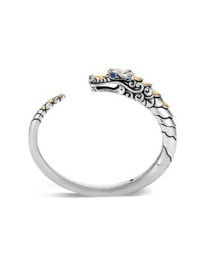 Brushed 18K Yellow Gold And Sterling Silver Legends Naga Small Kick Cuff With Sapphire Eyes in Silver/ Black/ Blue Sapphire