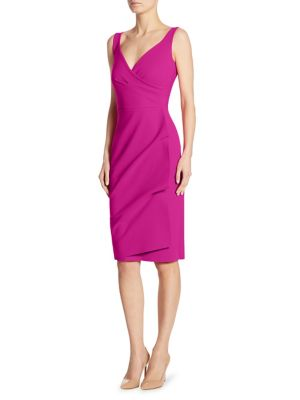 "Image of Ruched sheath dress with wrap-effect skirt. Surplice neckline. Sleeveless. Overlap skirt. Step in and pull-up style. Ruched draping through front left. About 41"" from shoulder to hem. Polyamide/elastane. Machine wash. Made in Italy. Model shown is 5'10"" ("