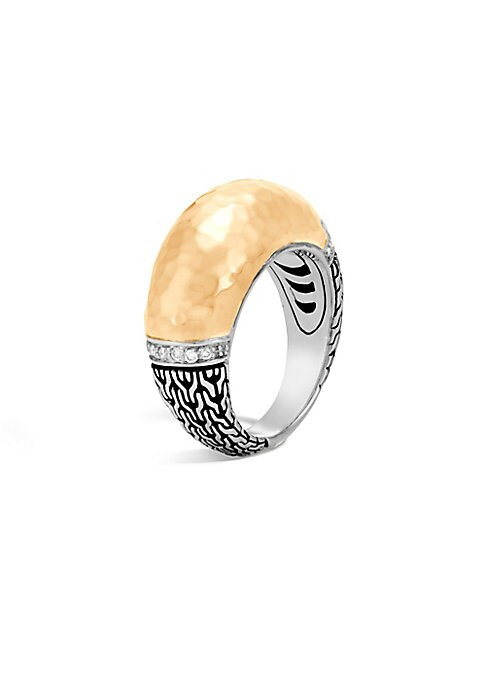 Image of .From the Classic Chain Collection. Sterling silver ring accented with 18K yellow gold. Diamonds, 0.09 tcw.18K yellow gold, Sterling Silver. Dome, 10mm. Imported.