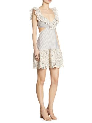 Buy Zimmermann Meridian Striped Eyelet Lace Dress online with Australia wide shipping