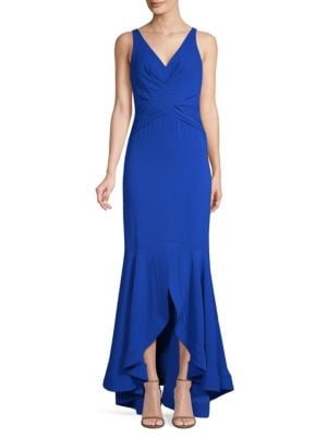 SHOSHANNA Montague V-Neck Gown W/ High-Low Hem in Sapphire