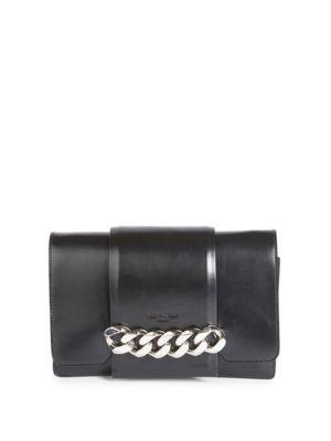 Small Infinity Calfskin Leather Shoulder Bag - Black