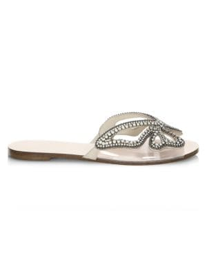 Madame Butterfly Crystal Suede Slides by Sophia Webster