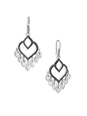 Image of From the Legends Collection Sterling silver earrings with Hardy's intricated dragon design Black spinel Silver Ear wire Imported. Fashion Jewelry - John Hardy. John Hardy. Color: Silver Black.