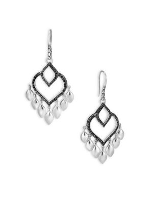 Image of From the Legends Collection. Sterling silver earrings with Hardy's intricated dragon design. Black spinel. Sterling silver. Ear wire. Imported.