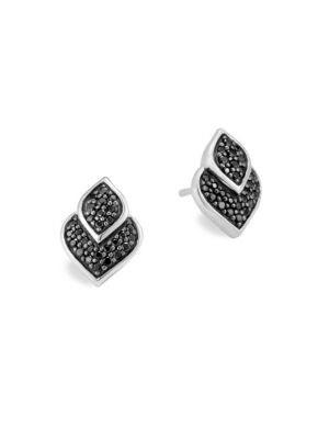 Sterling Silver Legends Naga Black Sapphire And Black Spinel Stud Earrings