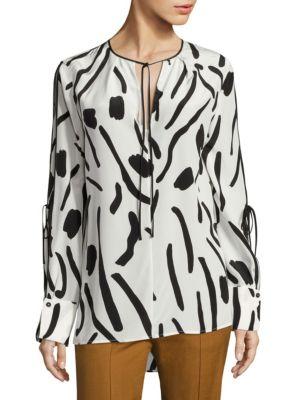 Printed Tie-Sleeve Silk Blouse by Diane von Furstenberg