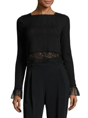 Lace-Trim Rib-Knit Cropped Top by 3.1 Phillip Lim