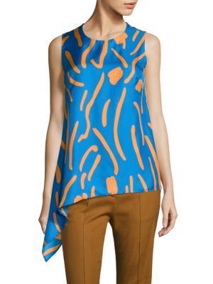 Asymmetrical Draped Silk Top by Diane von Furstenberg