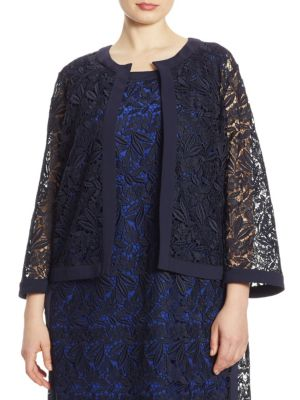 """Image of Lace macrame jacket with fluid crepe cady trim. Roundneck. Three-quarter sleeves. Concealed front closure. About 25"""" from shoulder to hem. Polyester. Imported."""