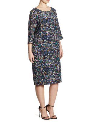 Main Line Dotto Print Silk Sheath Dress