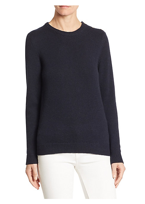 "Image of Lavish cashmere-blend pullover with shoulder button detail. Roundneck. Long sleeves. Rib-knit at neck, cuffs, and hem. Pullover style. About 25"" from shoulder to hem. Cashmere/nylon. Dry clean. Made in Italy. Model shown is 5'10"" (177cm) wearing size Smal"