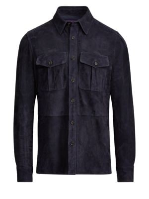 Men'S Suede Shirt Jacket in Classic Navy