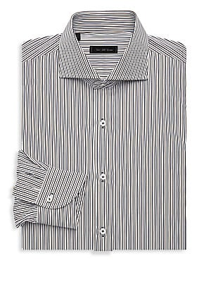 "Image of ONLY AT SAKS. Classic-fit dress shirt with three linear pattern. Spread collar Long sleeves Buttoned barrel cuffs Button front Polyester Machine wash Imported SIZE & FIT Classic fit About 26"" from shoulder to hem. Mens Pvt Brands - Sfamc Dress Shirts. Sak"