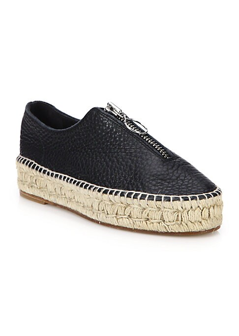 "Image of On-trend leather sneakers with espadrille trim. Espadrille flatform, 1.25"" (30mm).Leather upper. Round toe. Front zip closure. Leather lining and sole. Padded insole. Imported."