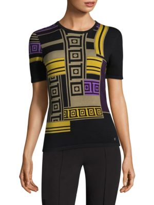 Colorblock Short-Sleeve Shell by Versace Collection