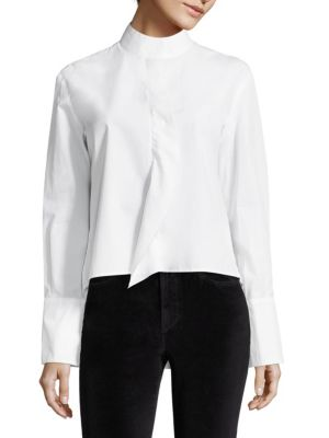 Cravat Poplin Cotton Long Sleeve Blouse by FRAME