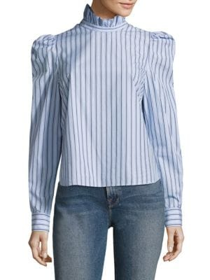 Ruffle Highneck Poplin Cotton Blouse by FRAME