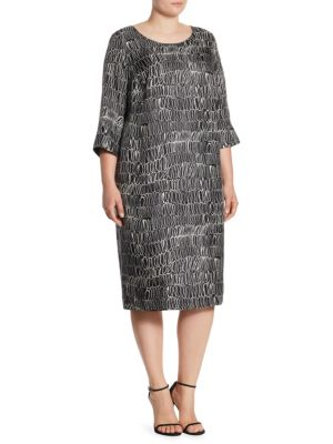 Definito Scribble-Print Silk Dress