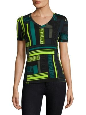 V-Neck Geometric Tee by Versace Collection