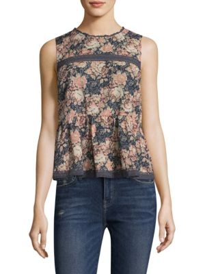 Floral Peplum Cotton Tank Top by Current/Elliott