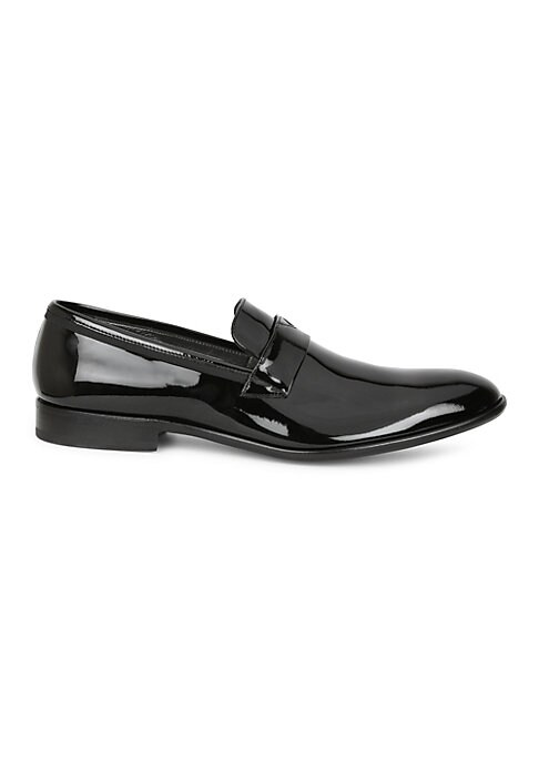 Image of Add some dapper shine to any evening outfit with these expertly designed patent leather loafers. Patent leather upper. Slip-on style. Leather lining and sole. Made in Italy.
