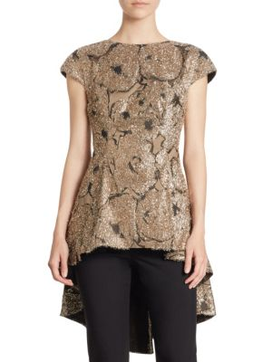 Embellished Flounce Top by Lela Rose