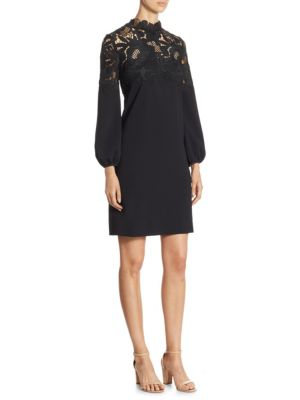 "Image of Long sleeves dress with floral lace detailing. Crewneck. Long sleeves. Concealed back zip. About 34"" from shoulder to hem. Polyester/polyamide/silk/elastane. Dry clean. Imported. Model shown is 5'10"" (177cm) wearing US size 4."