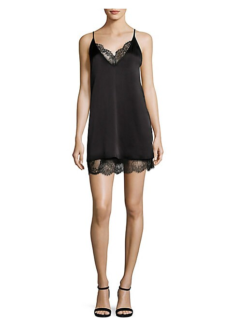 """Image of Camisole dress made from luxurious silk for rich look. Adjustable spaghetti straps. Deep V-neck. Sleeveless. Scalloped hem. Lined. About 34"""" from shoulder to hem. Silk/nylon. Dry clean. Imported. Model shown is 5'10"""" (177cm) wearing size Small."""