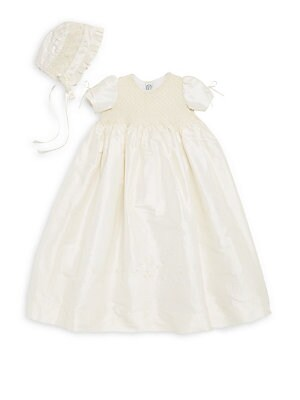 74db52b68 Isabel Garreton - Baby's Two-Piece Pearl Silk Christening Gown & Bonnet Set