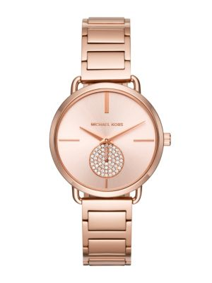 Michael Kors Portia Rose Goldtone Stainless Steel Two Hand Sub Eye Chronograph Bracelet Watch