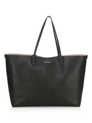 Large Leather Shopper Tote in Black