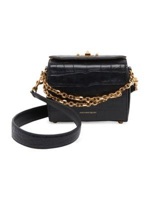 Box Bag 19 Croc Embossed Leather Shoulder Bag, Black
