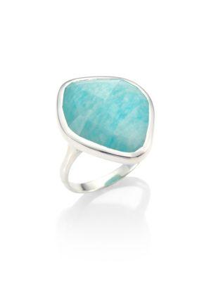 MONICA VINADER Siren Amazonite & Sterling Silver Ring in Silver/ Amazonite