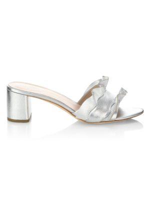 Vera Metallic Leather Block Heel Slide Sandals, Silver