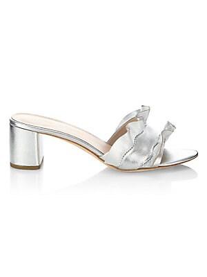 Vera Ruffle Metallic Leather Slide Sandals by Loeffler Randall