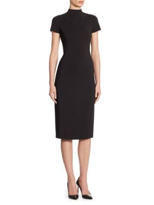 "Image of Classic turtleneck midi dress in stretch fabric. Turtleneck. Short sleeves. Concealed back zip. About 45"" from shoulder to hem. Viscose/elastane. Dry clean. Made in USA. Model shown is 5'10"" (177cm) wearing US size 4."