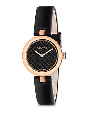 Diamantissima Rose Gold Pvd & Leather Strap Watch by Gucci